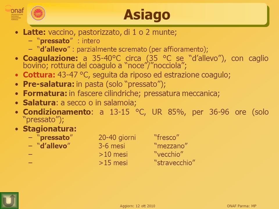 Aggiorn: 12 ott 2010ONAF Parma: MP Asiago Latte: vaccino, pastorizzato, di 1 o 2 munte; –pressato : intero –dallevo : parzialmente scremato (per affio