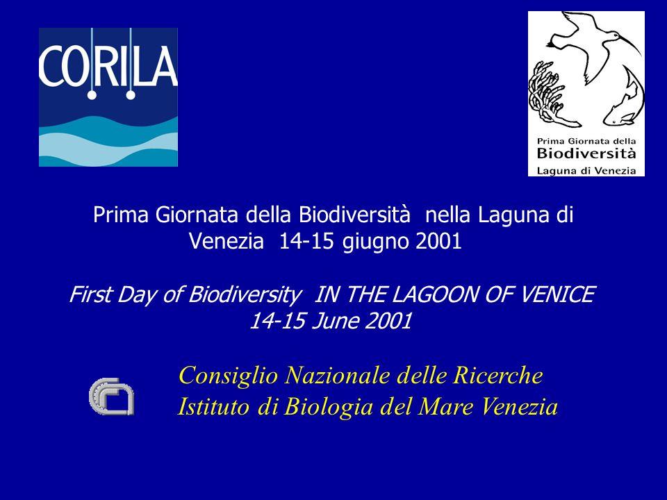 Consiglio Nazionale delle Ricerche Istituto di Biologia del Mare Venezia Prima Giornata della Biodiversità nella Laguna di Venezia 14-15 giugno 2001 First Day of Biodiversity IN THE LAGOON OF VENICE 14-15 June 2001