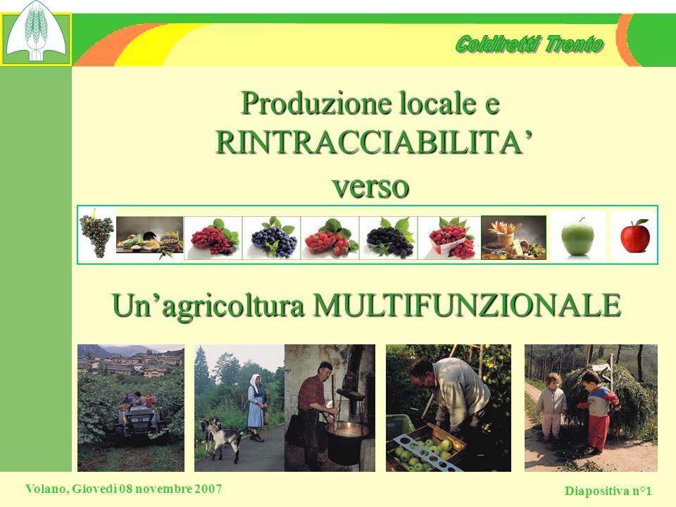 Diapositiva n°1 Volano, Giovedì 08 novembre 2007 Produzione locale e RINTRACCIABILITA Unagricoltura MULTIFUNZIONALE verso