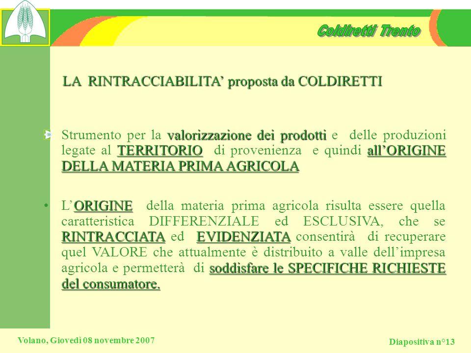 Diapositiva n°13 Volano, Giovedì 08 novembre 2007 LA RINTRACCIABILITA proposta da COLDIRETTI valorizzazione dei prodotti TERRITORIOallORIGINE DELLA MA