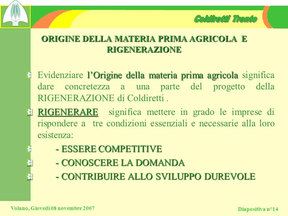Diapositiva n°14 Volano, Giovedì 08 novembre 2007 ORIGINE DELLA MATERIA PRIMA AGRICOLA E RIGENERAZIONE l Origine della materia prima agricola Evidenzi
