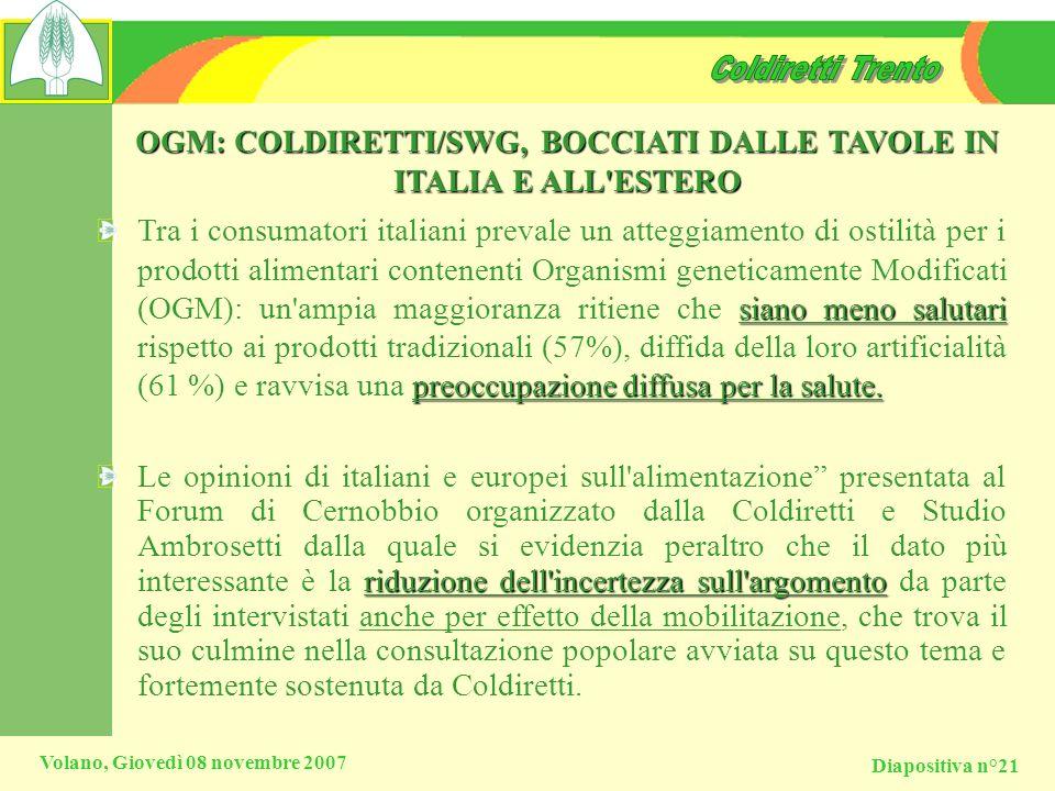 Diapositiva n°21 Volano, Giovedì 08 novembre 2007 OGM: COLDIRETTI/SWG, BOCCIATI DALLE TAVOLE IN ITALIA E ALL'ESTERO siano meno salutari preoccupazione