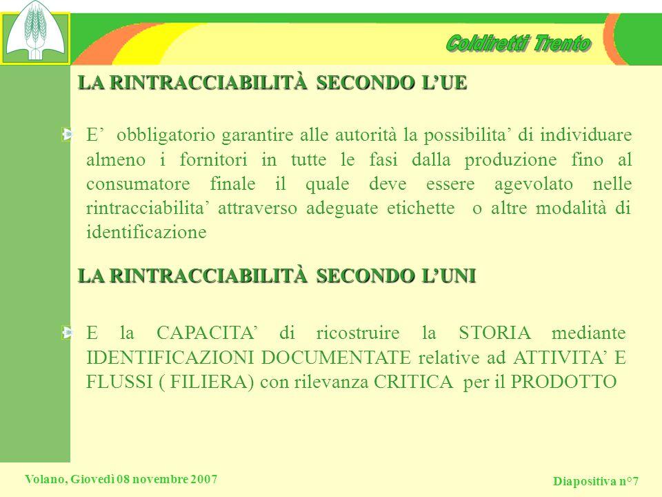 Diapositiva n°7 Volano, Giovedì 08 novembre 2007 LA RINTRACCIABILITÀ SECONDO LUE E obbligatorio garantire alle autorità la possibilita di individuare