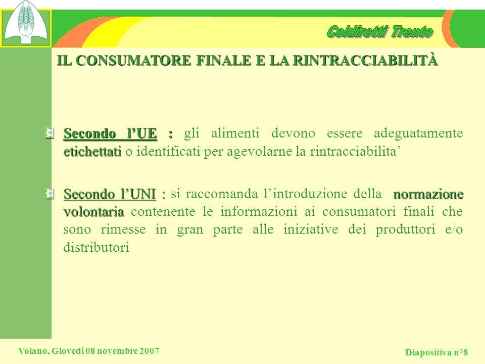 Diapositiva n°8 Volano, Giovedì 08 novembre 2007 IL CONSUMATORE FINALE E LA RINTRACCIABILITÀ Secondo lUE : etichettati Secondo lUE : gli alimenti devo
