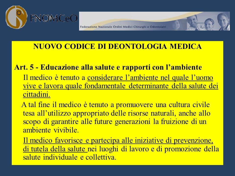 NUOVO CODICE DI DEONTOLOGIA MEDICA Art. 5 - Educazione alla salute e rapporti con lambiente Il medico è tenuto a considerare lambiente nel quale luomo