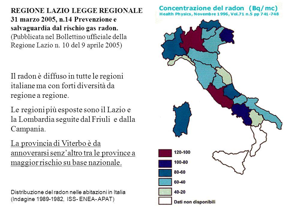 Il radon è diffuso in tutte le regioni italiane ma con forti diversità da regione a regione. Le regioni più esposte sono il Lazio e la Lombardia segui