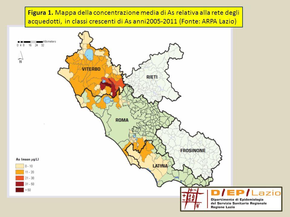 Figura 1. Mappa della concentrazione media di As relativa alla rete degli acquedotti, in classi crescenti di As anni2005-2011 (Fonte: ARPA Lazio)