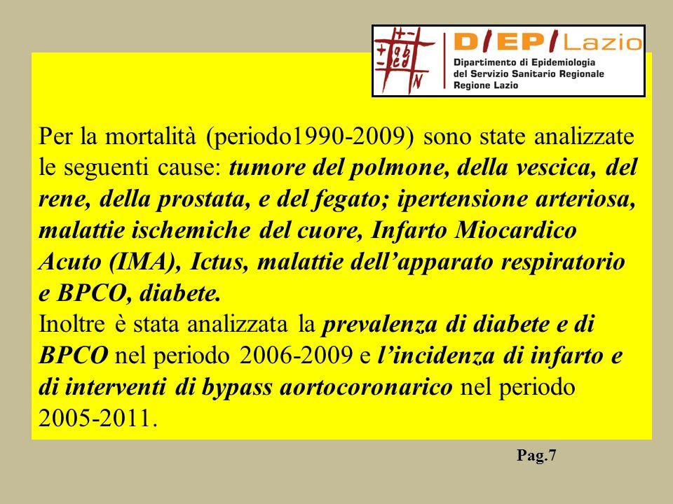 Per la mortalità (periodo1990-2009) sono state analizzate le seguenti cause: tumore del polmone, della vescica, del rene, della prostata, e del fegato