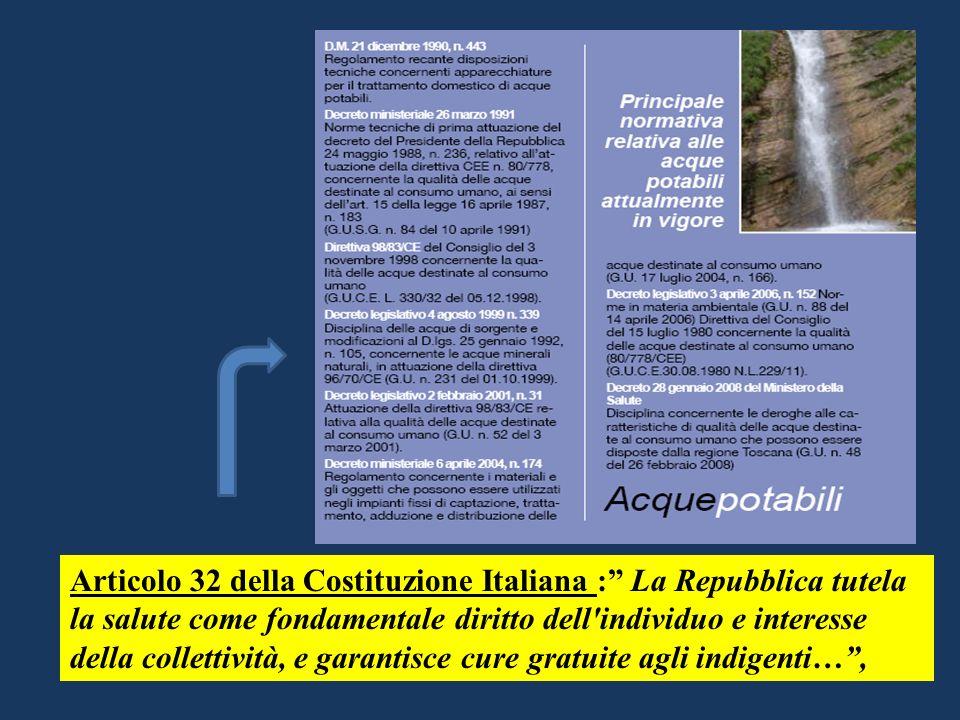 ACQUE SALUBRI E PULITE A GARANZIA DELLA SALUTE Articolo 32 della Costituzione Italiana : La Repubblica tutela la salute come fondamentale diritto dell