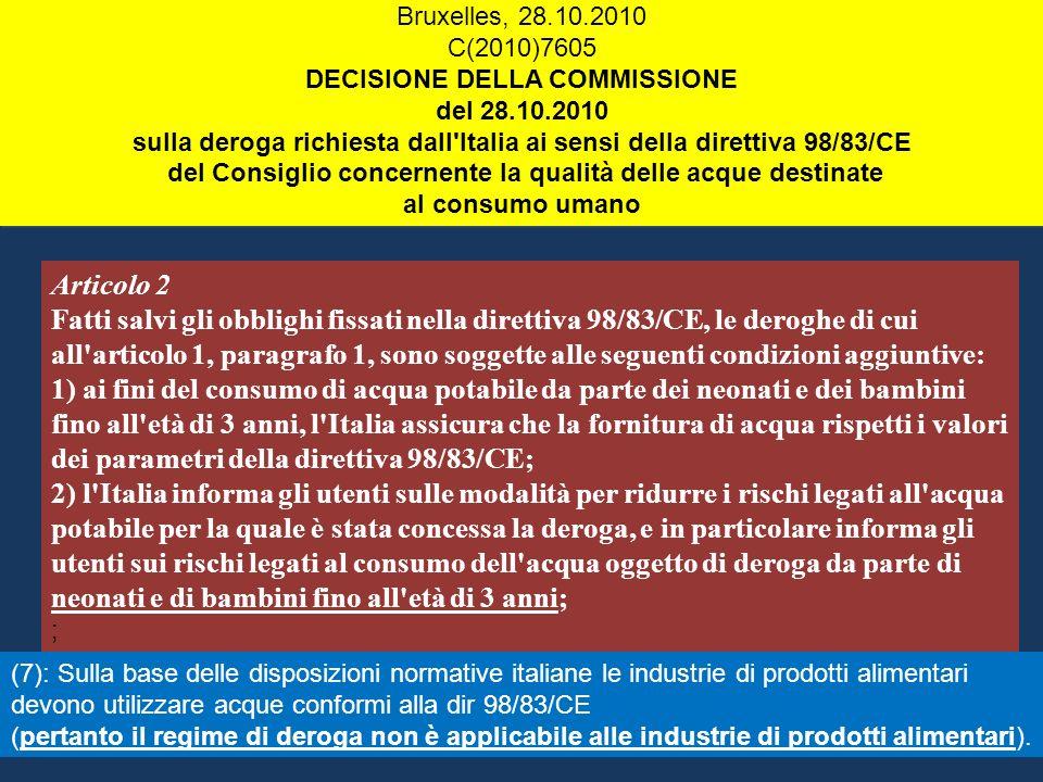 Articolo 2 Fatti salvi gli obblighi fissati nella direttiva 98/83/CE, le deroghe di cui all'articolo 1, paragrafo 1, sono soggette alle seguenti condi