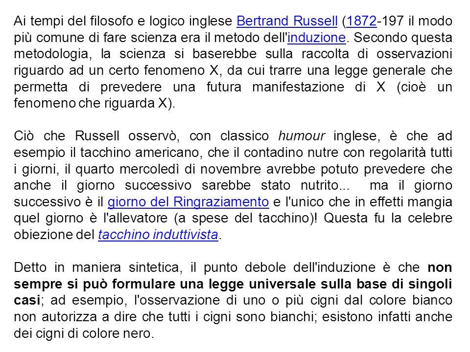 Ai tempi del filosofo e logico inglese Bertrand Russell (1872-197 il modo più comune di fare scienza era il metodo dell'induzione. Secondo questa meto