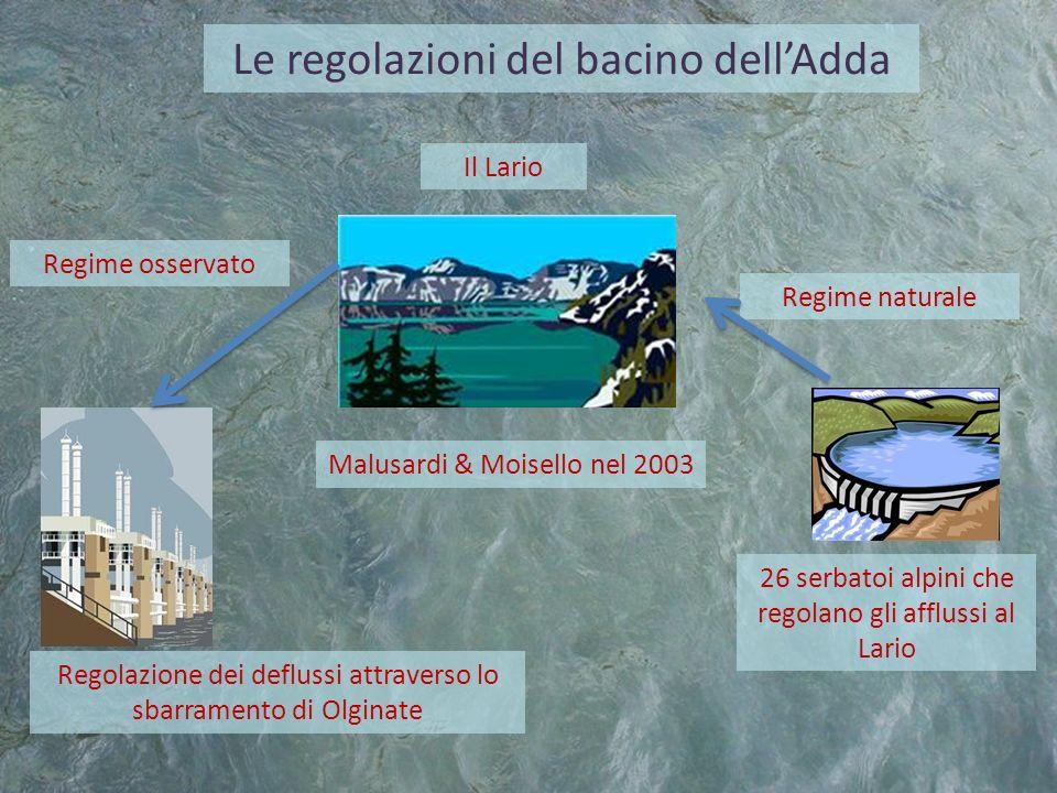 Le regolazioni del bacino dellAdda 26 serbatoi alpini che regolano gli afflussi al Lario Il Lario Regolazione dei deflussi attraverso lo sbarramento d