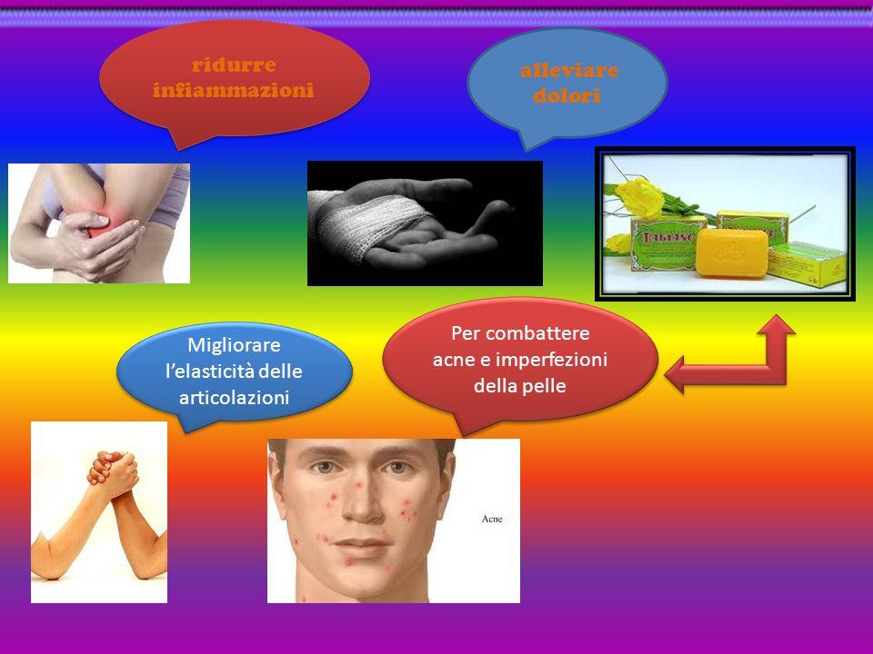 ridurre infiammazioni alleviare dolori Migliorare lelasticità delle articolazioni Per combattere acne e imperfezioni della pelle