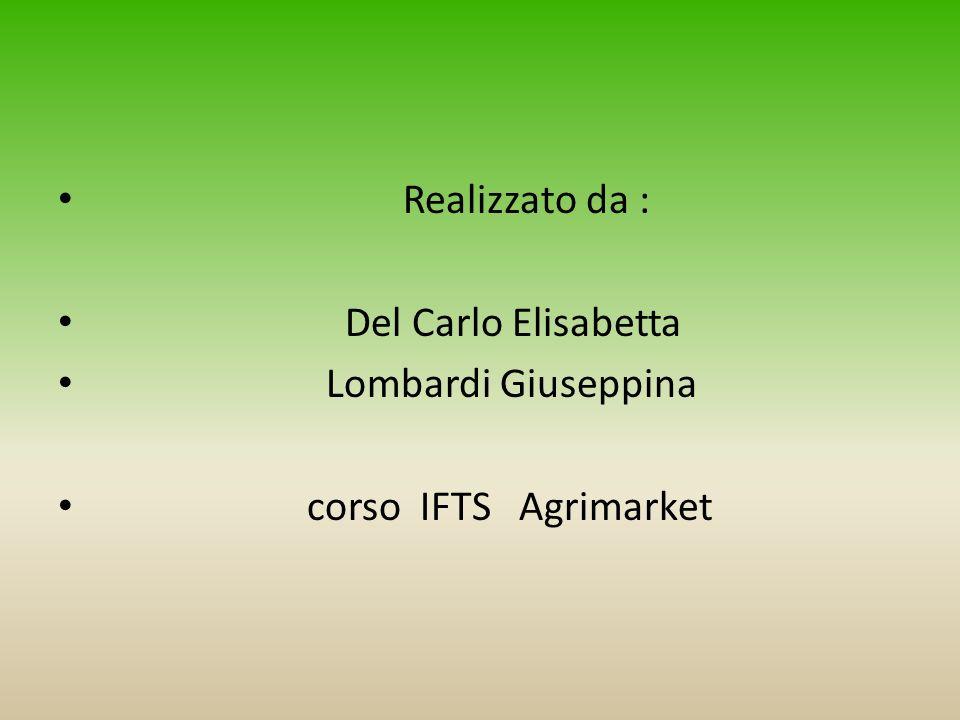 Realizzato da : Del Carlo Elisabetta Lombardi Giuseppina corso IFTS Agrimarket