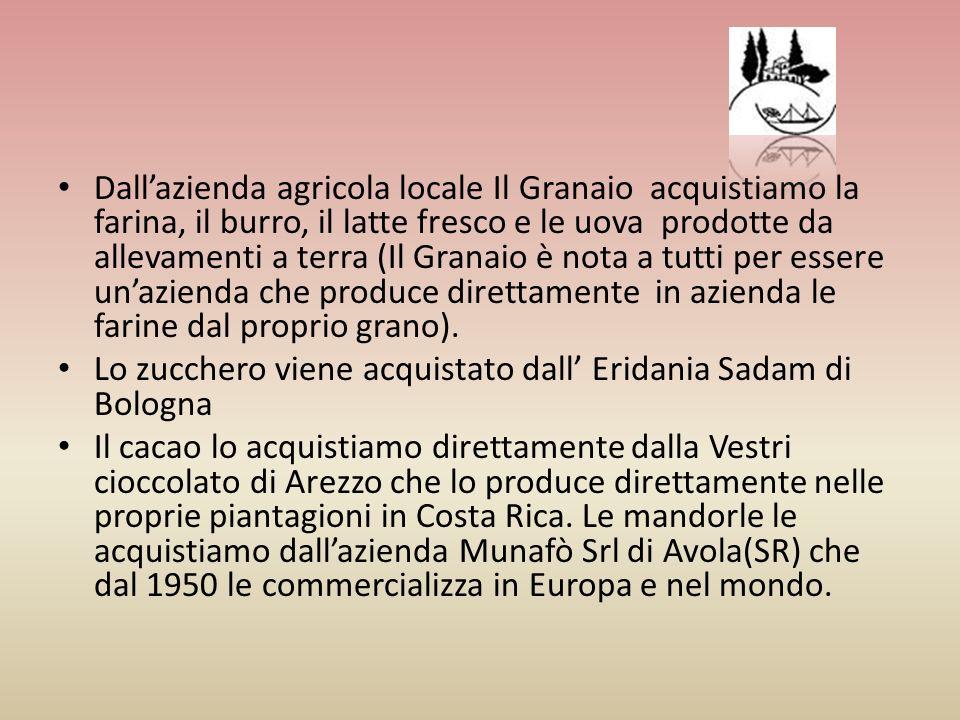 Dallazienda agricola locale Il Granaio acquistiamo la farina, il burro, il latte fresco e le uova prodotte da allevamenti a terra (Il Granaio è nota a