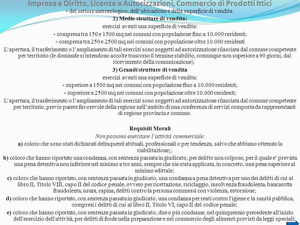 Impresa e Diritto, Licenze e Autorizzazioni, Commercio di Prodotti Ittici - del settore merceologico, dellubicazione e della superficie di vendita. 2)