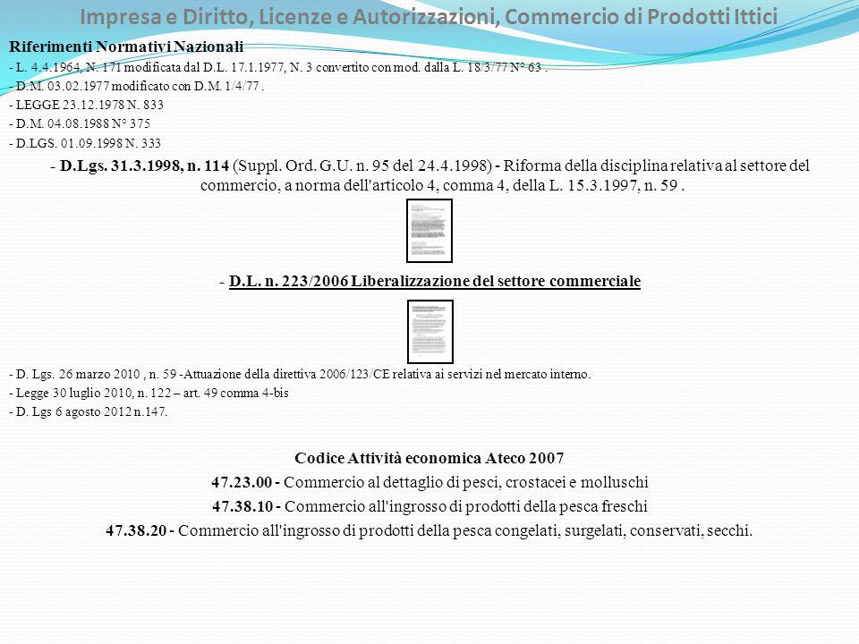 Impresa e Diritto, Licenze e Autorizzazioni, Commercio di Prodotti Ittici Riferimenti Normativi Nazionali - L. 4.4.1964, N. 171 modificata dal D.L. 17