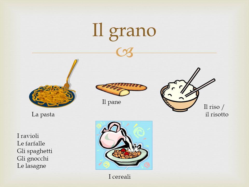 Il grano La pasta Il pane Il riso / il risotto I cereali I ravioli Le farfalle Gli spaghetti Gli gnocchi Le lasagne