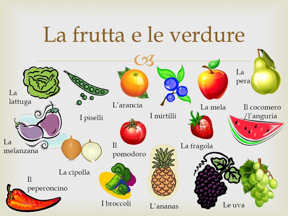 La frutta e le verdure La lattuga La melanzana I piselli La cipolla Il peperoncino I broccoli Il pomodoro Lananas I mirtilli La fragola Le uva Il coco