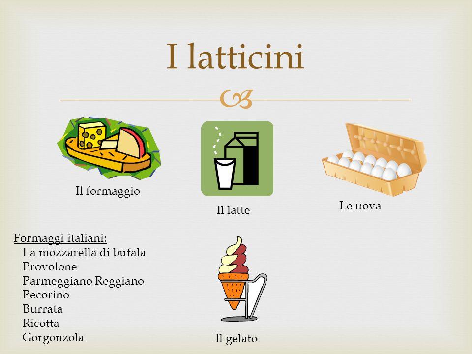 I latticini Il formaggio Il latte Le uova Il gelato Formaggi italiani: La mozzarella di bufala Provolone Parmeggiano Reggiano Pecorino Burrata Ricotta