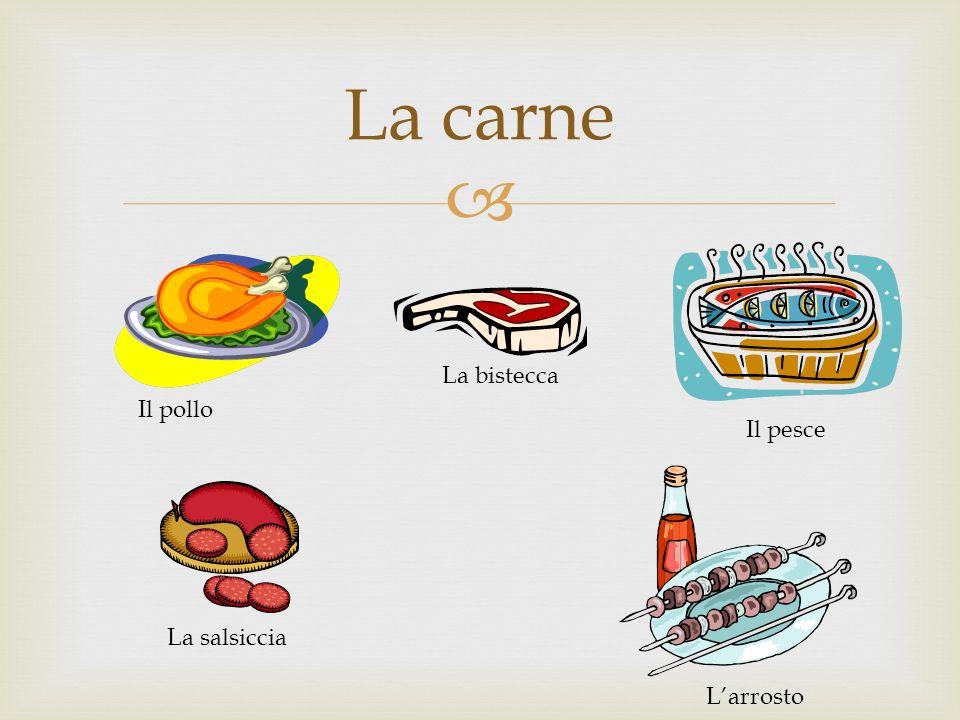 La carne Il pollo La bistecca Il pesce La salsiccia Larrosto