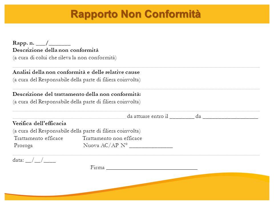 Rapporto Non Conformità Rapp. n. ___/_______ Descrizione della non conformità (a cura di colui che rileva la non conformità) _________________________