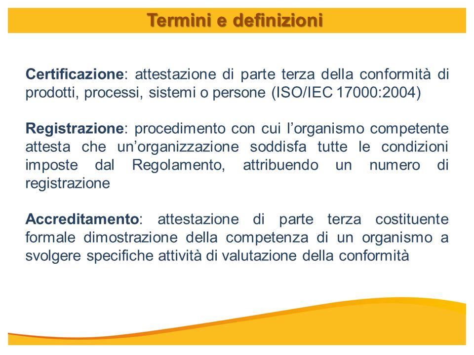 Certificazione: attestazione di parte terza della conformità di prodotti, processi, sistemi o persone (ISO/IEC 17000:2004) Registrazione: procedimento
