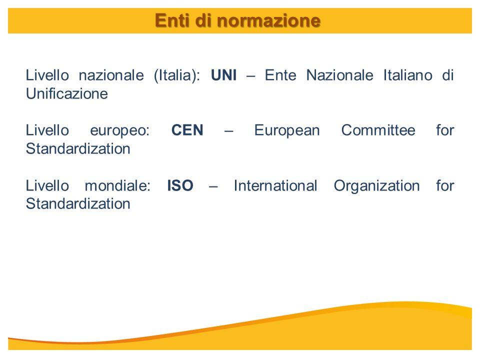 Livello nazionale (Italia): UNI – Ente Nazionale Italiano di Unificazione Livello europeo: CEN – European Committee for Standardization Livello mondia