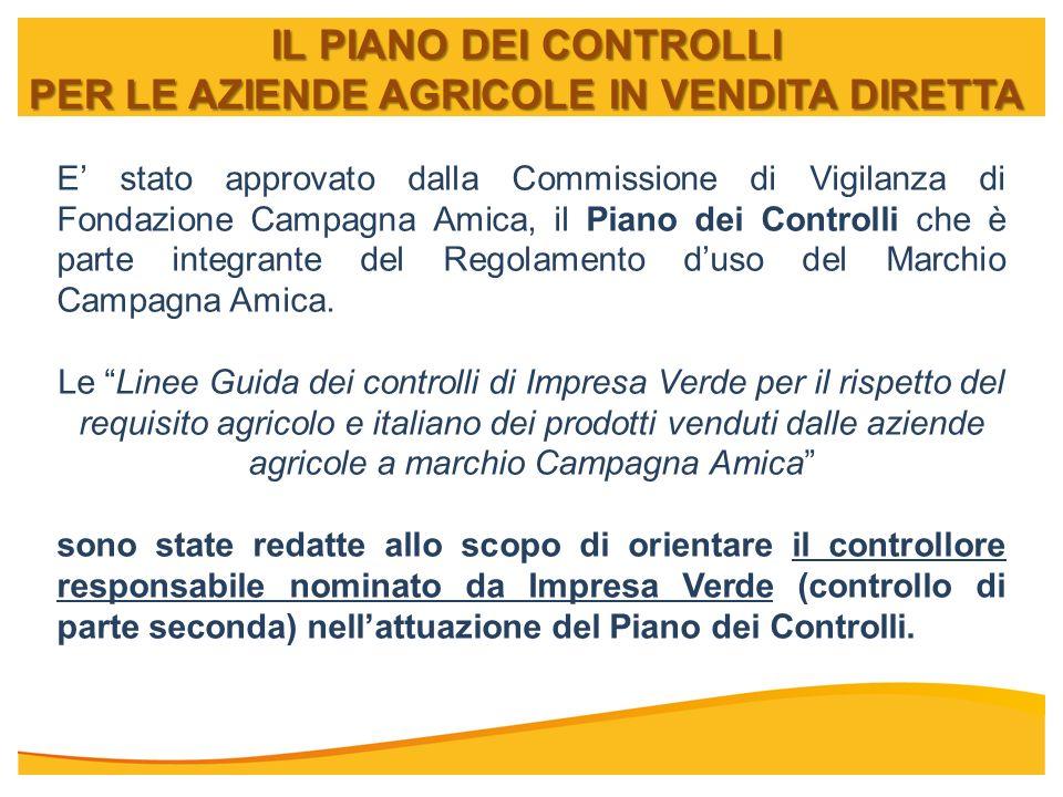IL PIANO DEI CONTROLLI PER LE AZIENDE AGRICOLE IN VENDITA DIRETTA E stato approvato dalla Commissione di Vigilanza di Fondazione Campagna Amica, il Pi