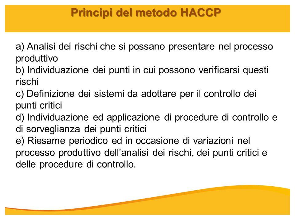 Principi del metodo HACCP a) Analisi dei rischi che si possano presentare nel processo produttivo b) Individuazione dei punti in cui possono verificar