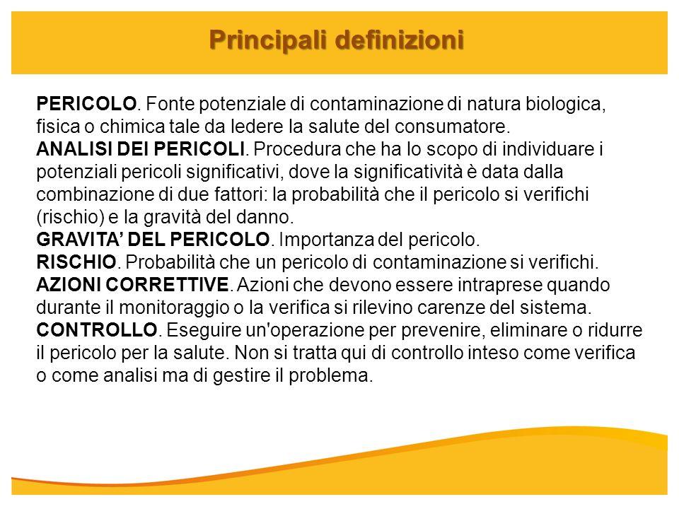 Principali definizioni PERICOLO. Fonte potenziale di contaminazione di natura biologica, fisica o chimica tale da ledere la salute del consumatore. AN