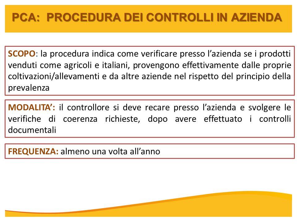 PCA: PROCEDURA DEI CONTROLLI IN AZIENDA SCOPO: la procedura indica come verificare presso lazienda se i prodotti venduti come agricoli e italiani, pro