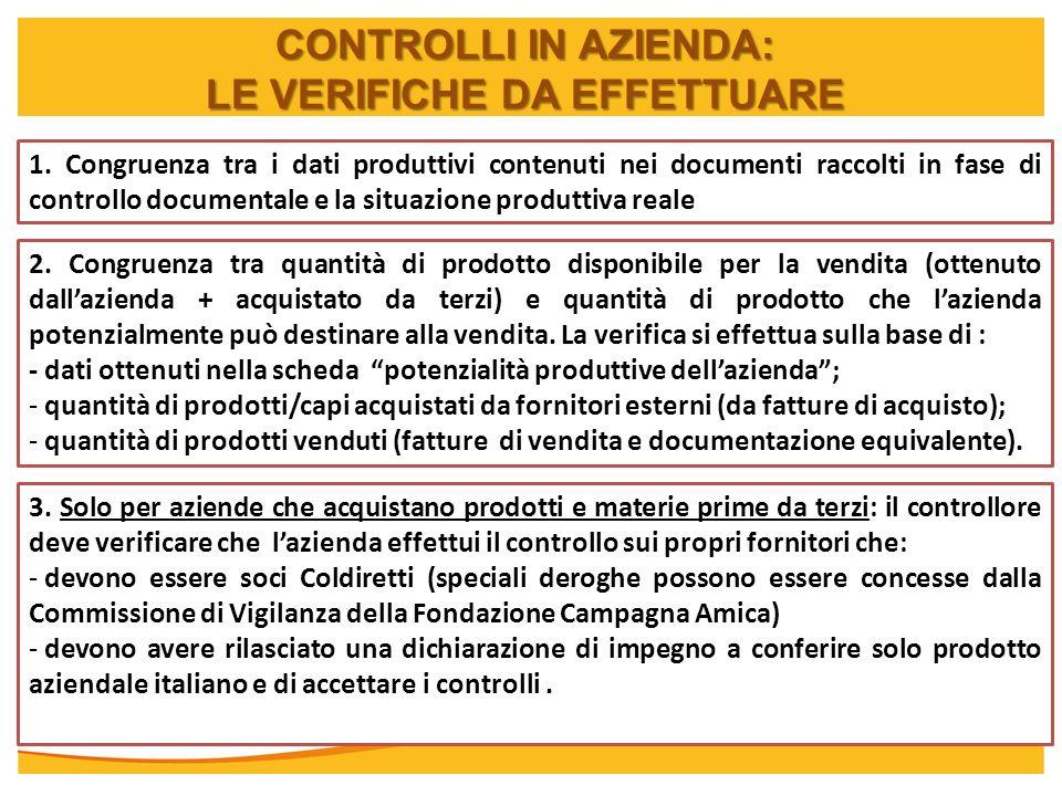 CONTROLLI IN AZIENDA: LE VERIFICHE DA EFFETTUARE 1. Congruenza tra i dati produttivi contenuti nei documenti raccolti in fase di controllo documentale