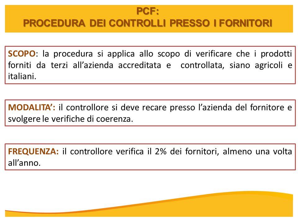 PCF: PROCEDURA DEI CONTROLLI PRESSO I FORNITORI SCOPO: la procedura si applica allo scopo di verificare che i prodotti forniti da terzi allazienda acc
