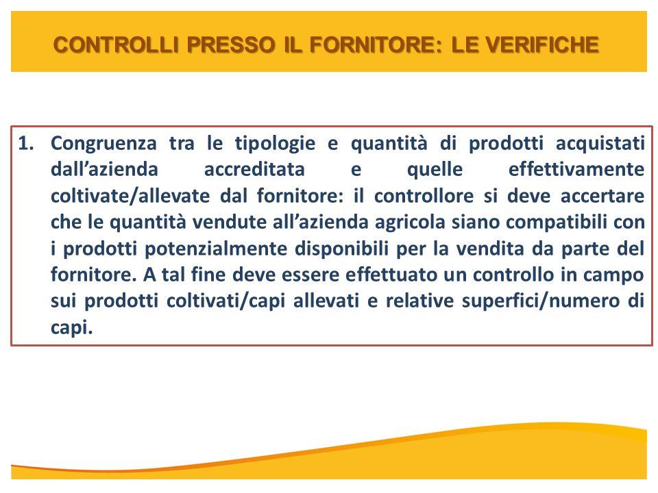 CONTROLLI PRESSO IL FORNITORE: LE VERIFICHE 1.Congruenza tra le tipologie e quantità di prodotti acquistati dallazienda accreditata e quelle effettiva