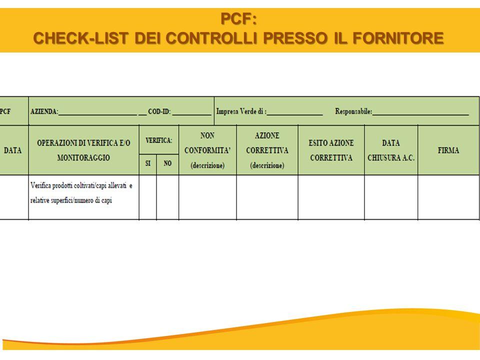 PCF: CHECK-LIST DEI CONTROLLI PRESSO IL FORNITORE