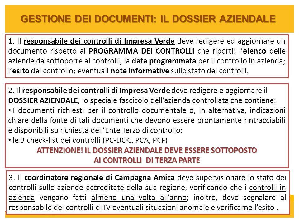 GESTIONE DEI DOCUMENTI: IL DOSSIER AZIENDALE 1. Il responsabile dei controlli di Impresa Verde deve redigere ed aggiornare un documento rispetto al PR