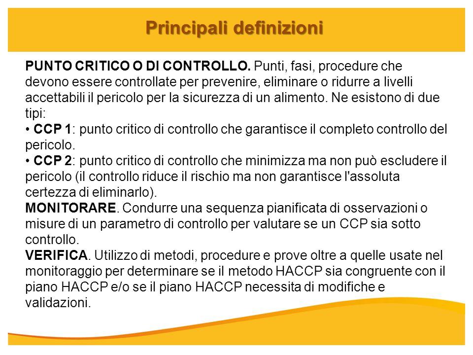 Principali definizioni PUNTO CRITICO O DI CONTROLLO. Punti, fasi, procedure che devono essere controllate per prevenire, eliminare o ridurre a livelli