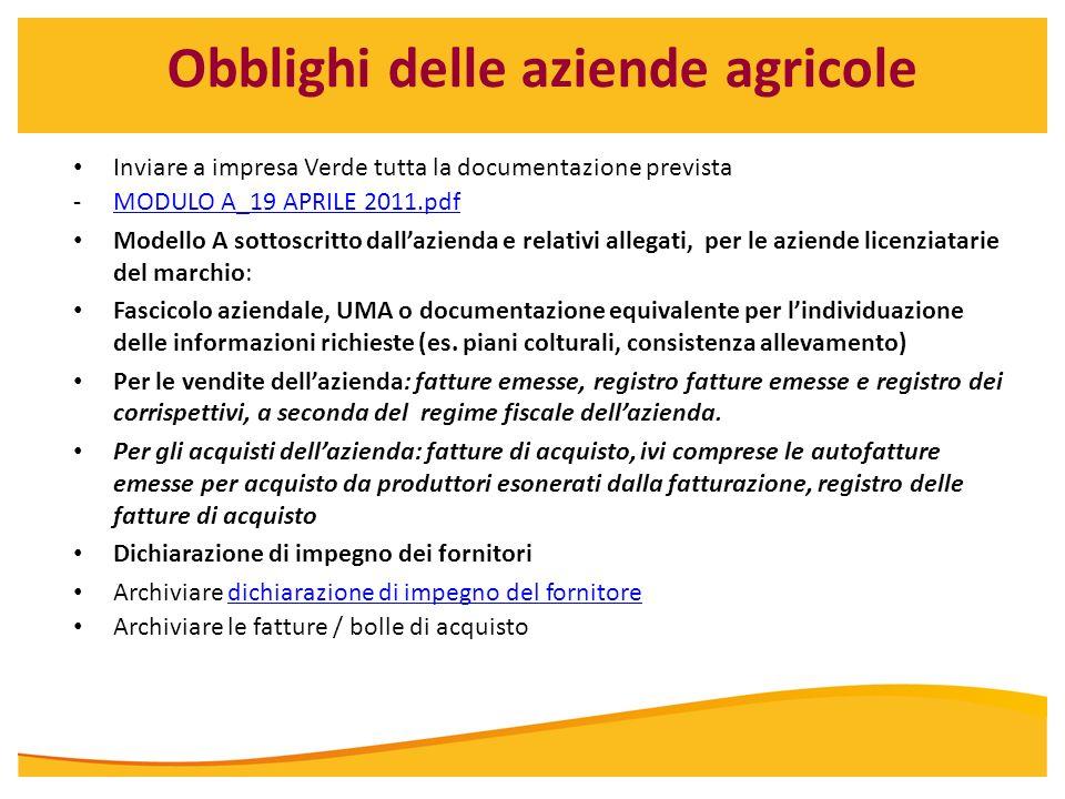 Obblighi delle aziende agricole Inviare a impresa Verde tutta la documentazione prevista -MODULO A_19 APRILE 2011.pdfMODULO A_19 APRILE 2011.pdf Model