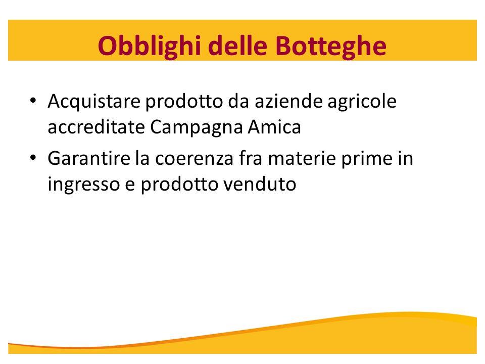 Obblighi delle Botteghe Acquistare prodotto da aziende agricole accreditate Campagna Amica Garantire la coerenza fra materie prime in ingresso e prodo