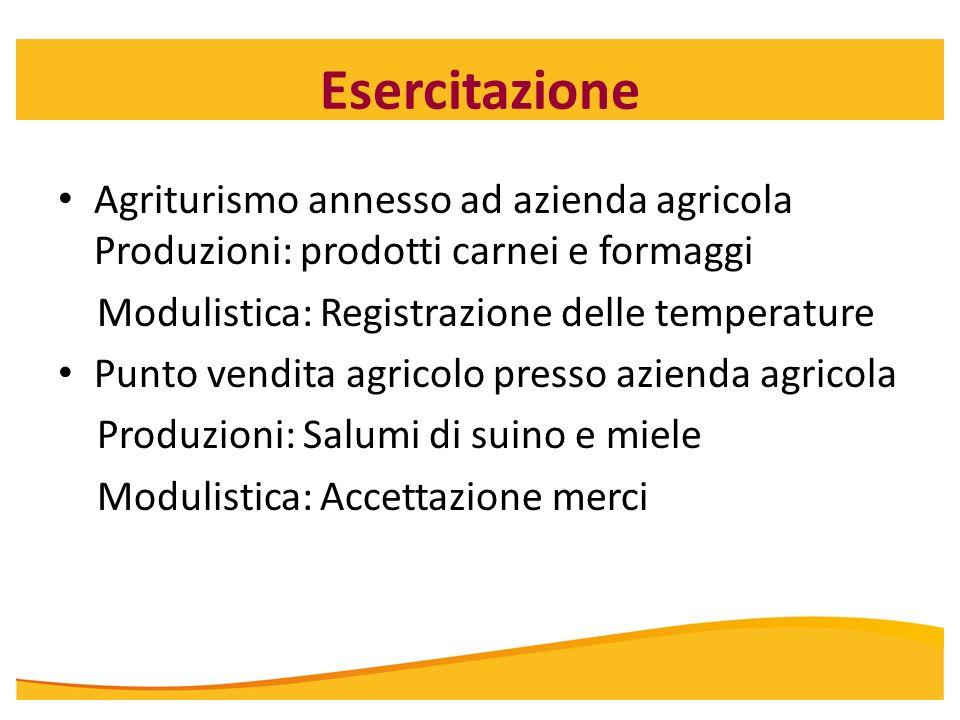 Esercitazione Agriturismo annesso ad azienda agricola Produzioni: prodotti carnei e formaggi Modulistica: Registrazione delle temperature Punto vendit