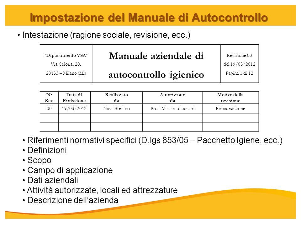 Impostazione del Manuale di Autocontrollo Dipartimento VSA Via Celoria, 20. 20133 – Milano (Mi) Manuale aziendale di autocontrollo igienico Revisione