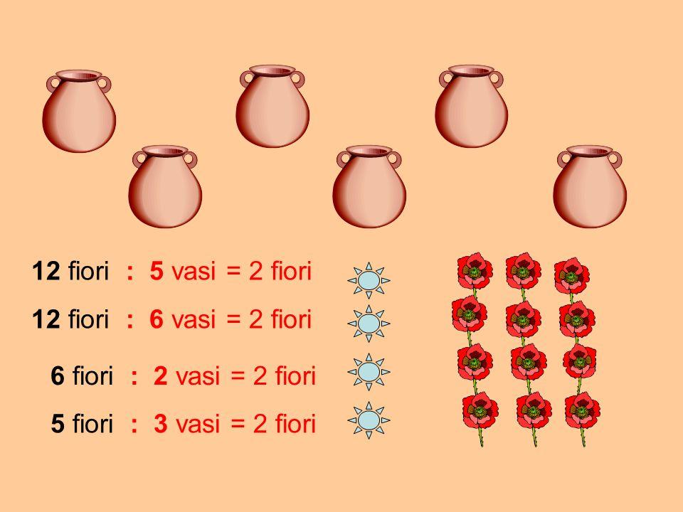 12 fiori : 5 vasi 6 fiori : 2 vasi 5 fiori : 3 vasi 12 fiori : 6 vasi Clicca sul bottone celeste che indica il problema suggerito dal disegno