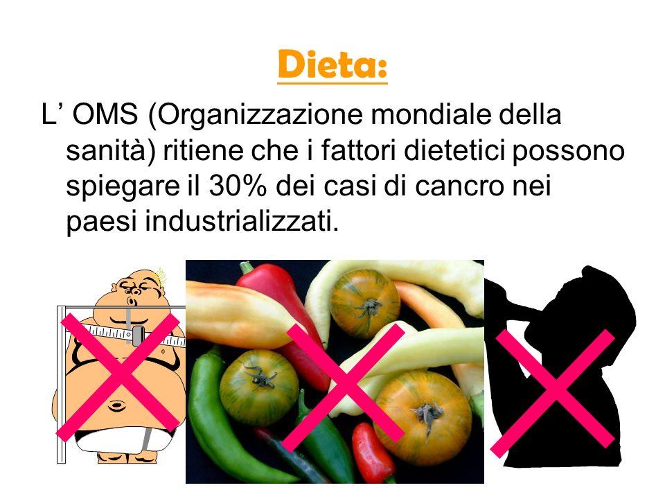 Dieta: L OMS (Organizzazione mondiale della sanità) ritiene che i fattori dietetici possono spiegare il 30% dei casi di cancro nei paesi industrializz