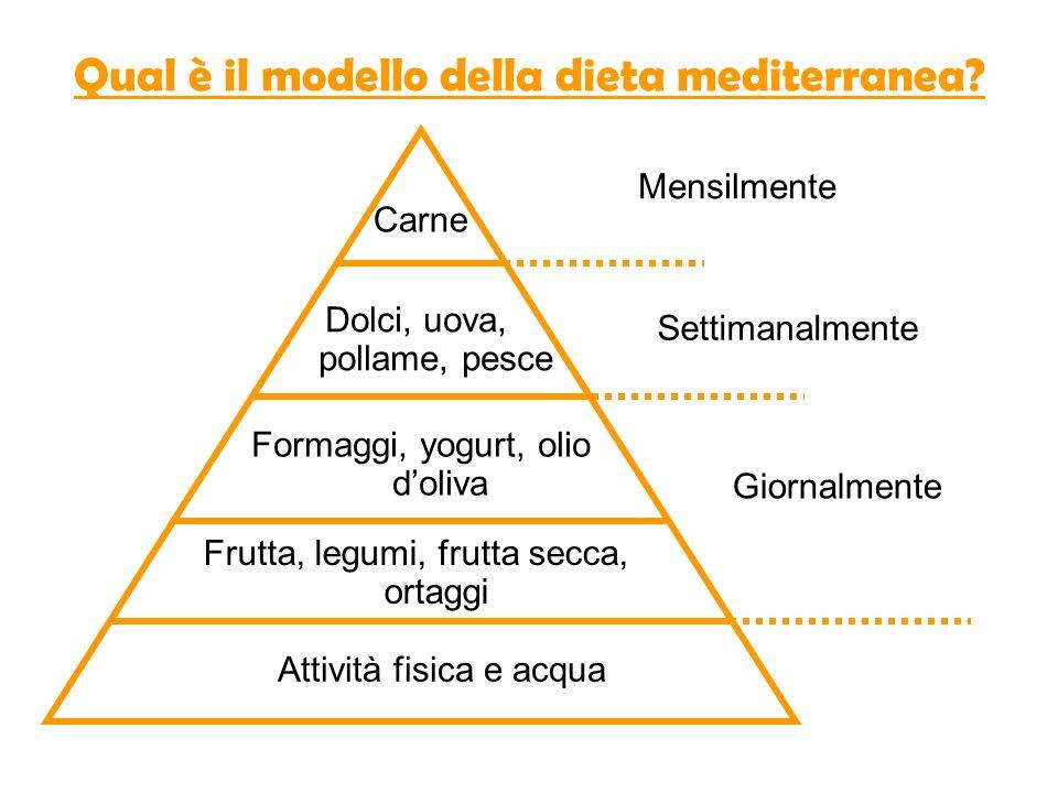 Qual è il modello della dieta mediterranea? Attività fisica e acqua Frutta, legumi, frutta secca, ortaggi Formaggi, yogurt, olio doliva Dolci, uova, p