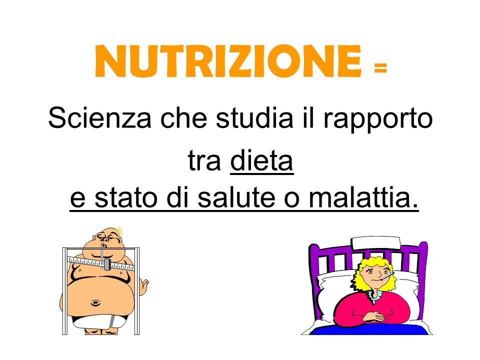 NUTRIZIONE = Scienza che studia il rapporto tra dieta e stato di salute o malattia.