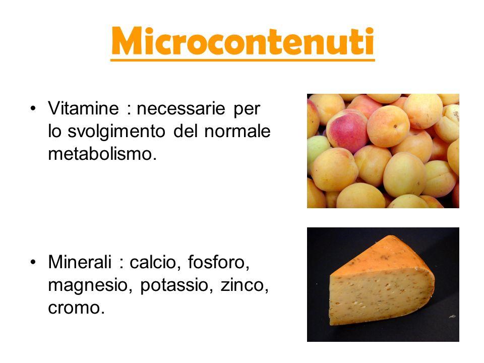 Microcontenuti Vitamine : necessarie per lo svolgimento del normale metabolismo. Minerali : calcio, fosforo, magnesio, potassio, zinco, cromo.