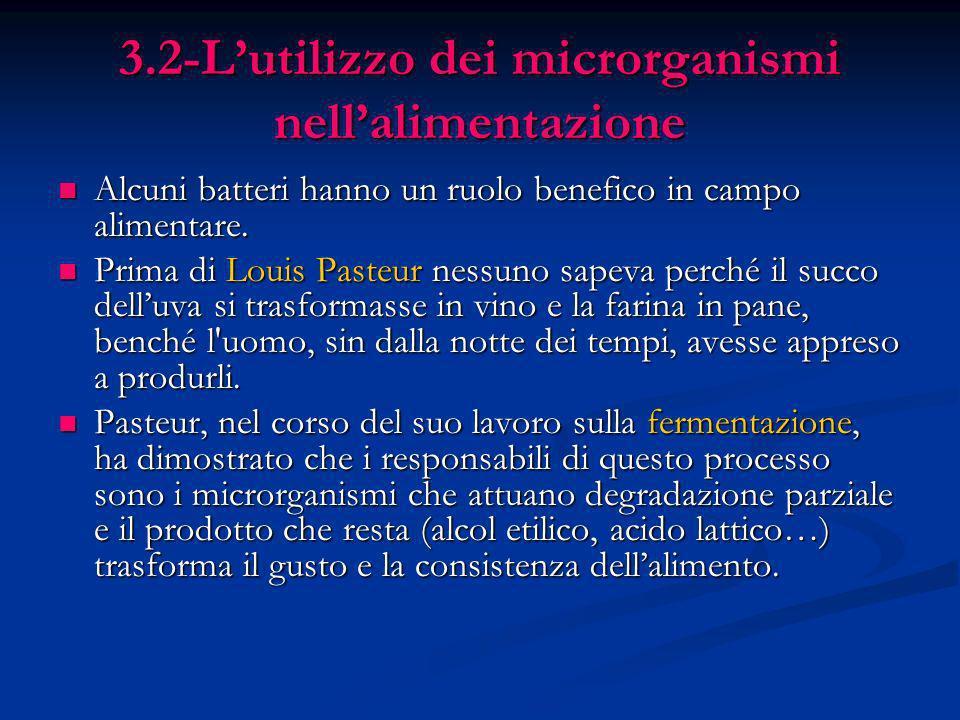 3.2-Lutilizzo dei microrganismi nellalimentazione Alcuni batteri hanno un ruolo benefico in campo alimentare. Alcuni batteri hanno un ruolo benefico i