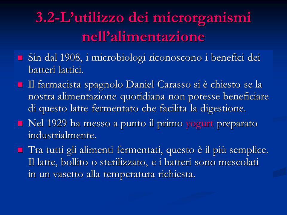 3.2-Lutilizzo dei microrganismi nellalimentazione Sin dal 1908, i microbiologi riconoscono i benefici dei batteri lattici. Sin dal 1908, i microbiolog