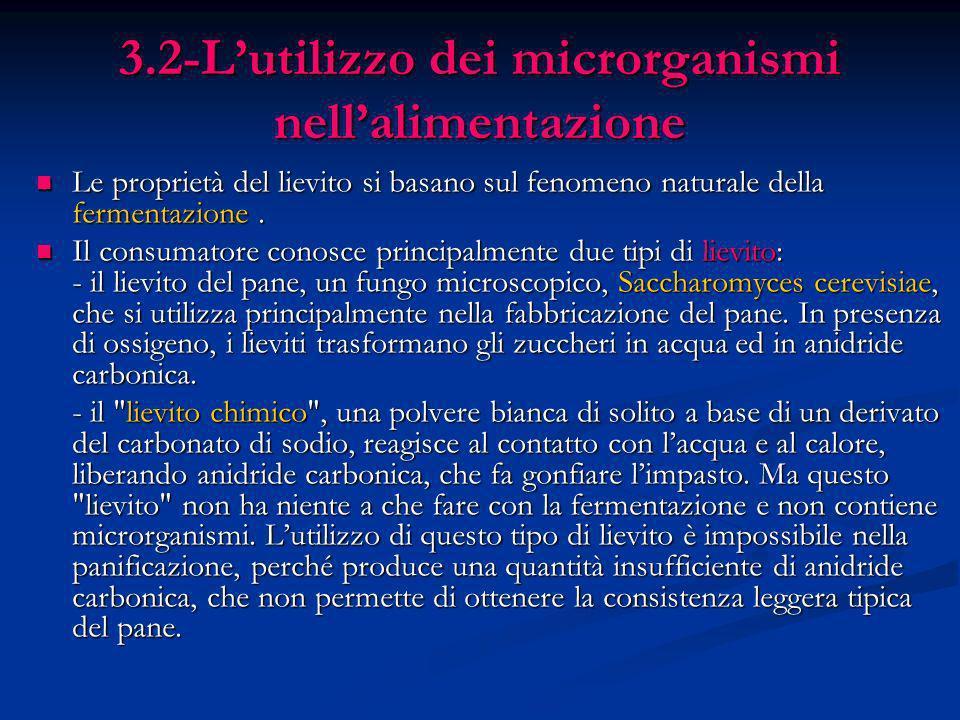 3.2-Lutilizzo dei microrganismi nellalimentazione Le proprietà del lievito si basano sul fenomeno naturale della fermentazione. Le proprietà del lievi